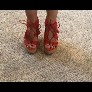 Ivanka Trump NEW S7 lace up red wedges